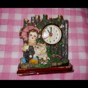 Other - Cute Adorable Boy with Dog Figurine Clock RARE